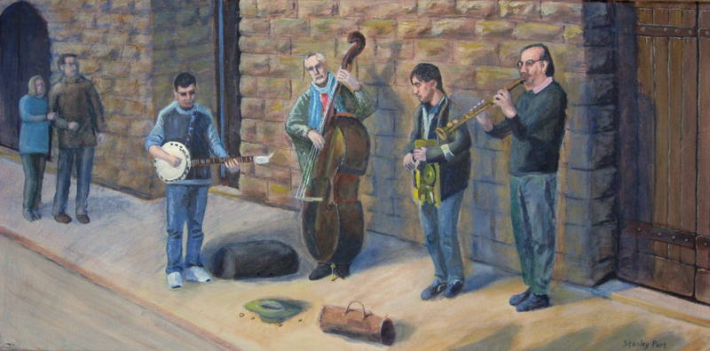 Street musicians painting for Sale