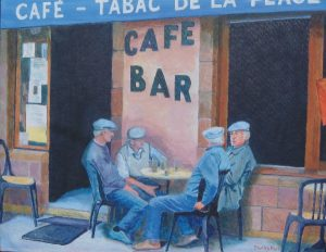 Painting of French Farmers in Café