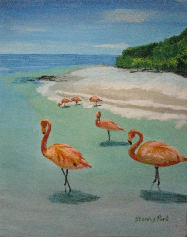Flamingos on a tropical beach