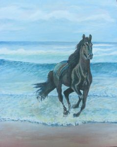 Galloping Horse on Beach Painting