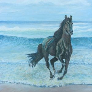 Freedom - black horse galloping in surf on beach