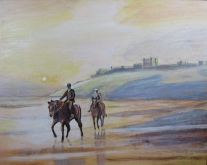 Horse Riding on the Beach Painting