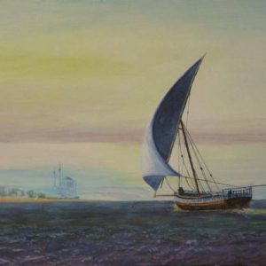 Journey Over - arab dowh in seascape painting