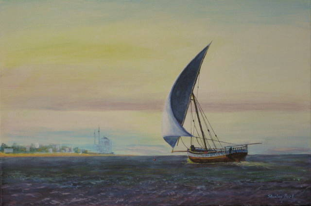 Arab Dhow sunset painting