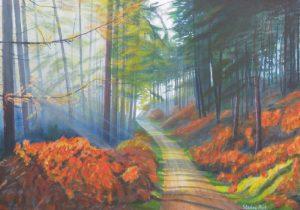 Misty woodland painting