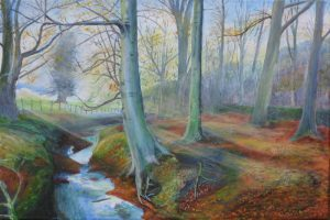 Misty Wood painting of a beech copse