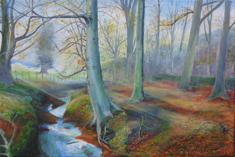 Misty Beech Wood Painting
