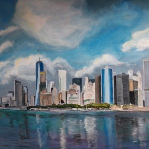 Painting of Manhattan Skyline from Staten Island ferry