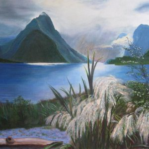 Painting of Milford Sound in South Island in New Zealand