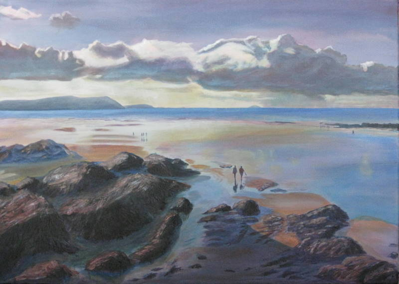 Painting of Polzeath Beach in Cornwall