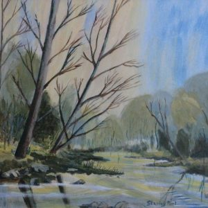 Woodland river painting