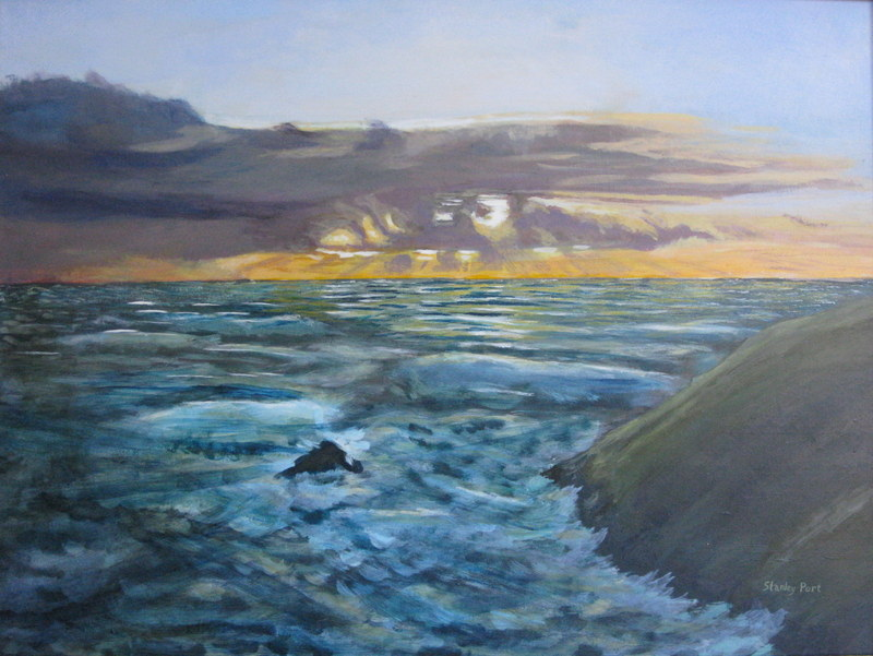 Painting Of Sea And Evening Sky