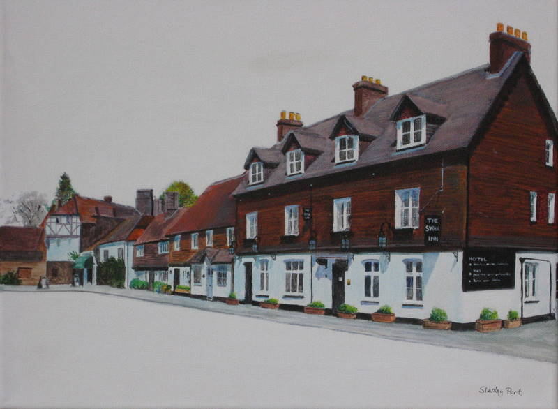 Painting of Swan Inn at Chiddingfold in Surrey