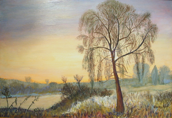 Painting of Lone Tree in Twilight