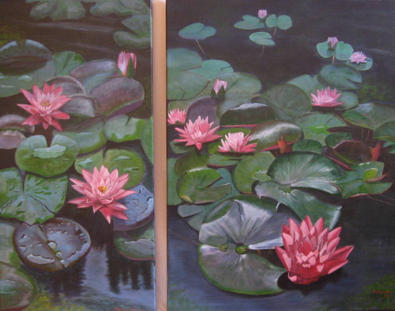 Red Water Lilies Painting for Sale