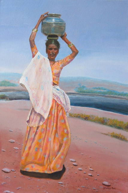 indian girl watercarrier painting