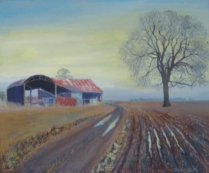 Old Farm Buildings Painting