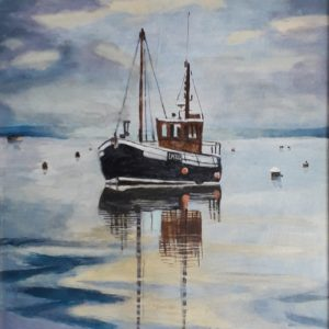 Fishing boat reflections paintings
