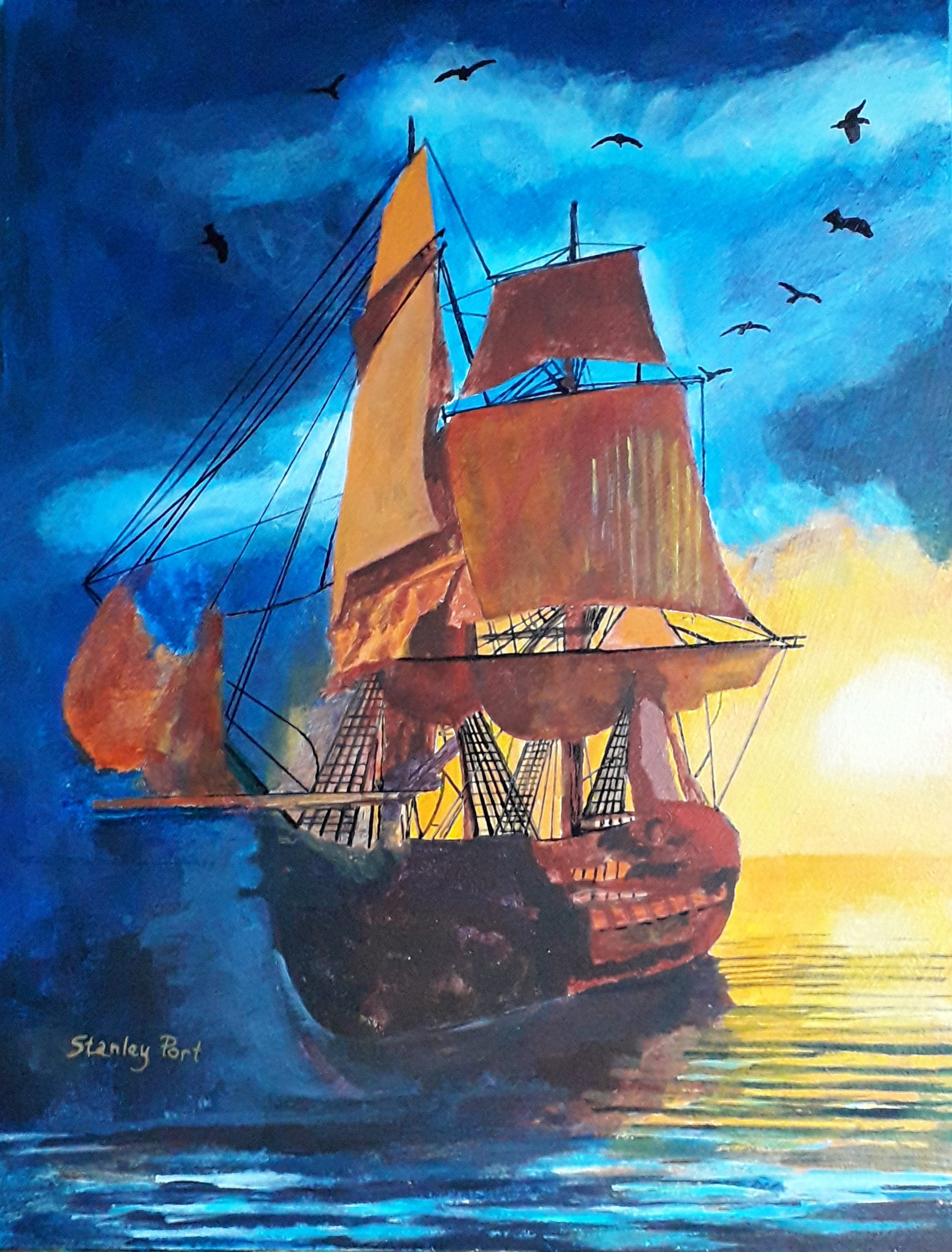 Sunset Painting of sailing ship