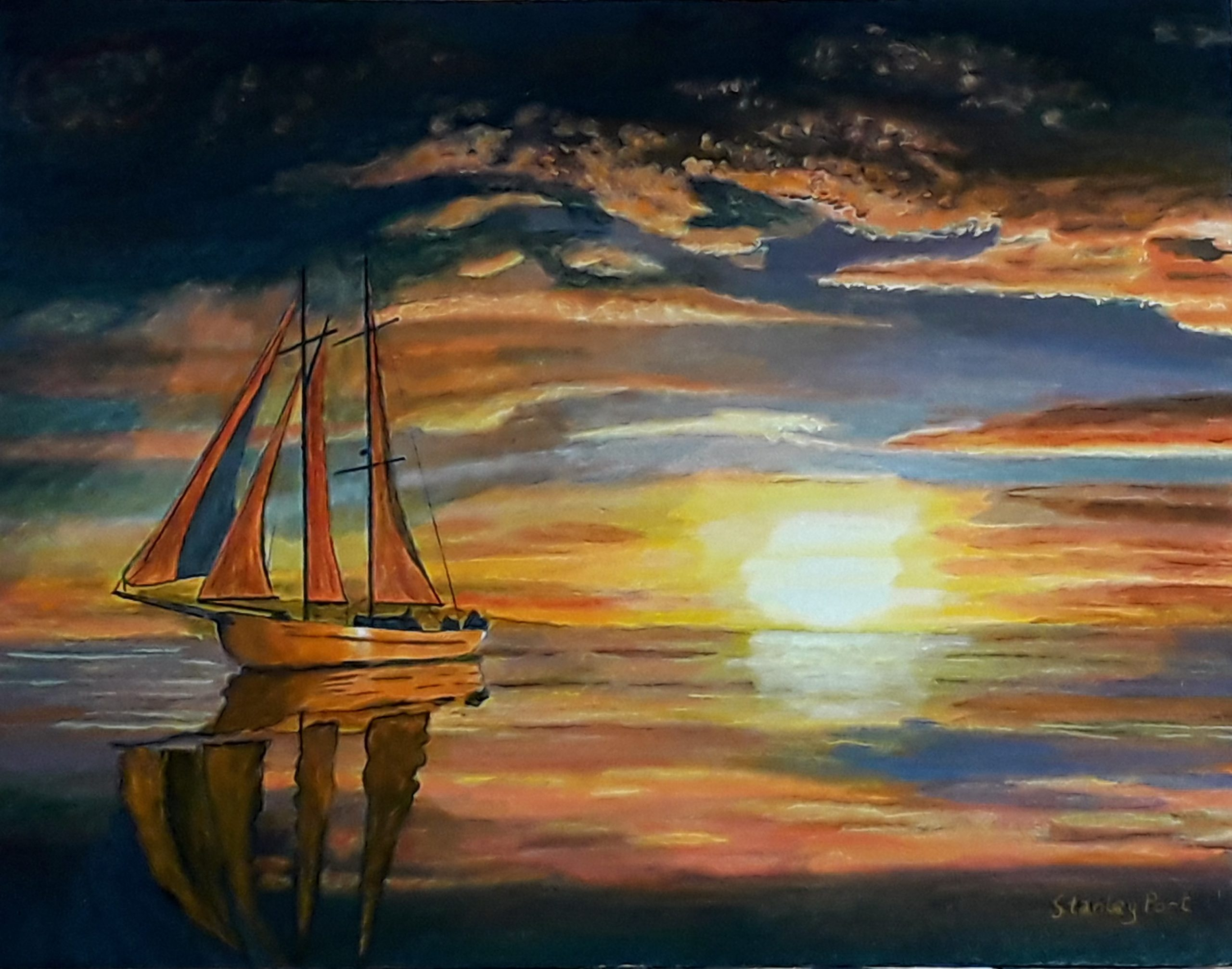 Sailing Boat in Sunset Painting