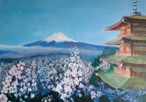 Mt Fuji in Japan with a pagoda and cherry blossom